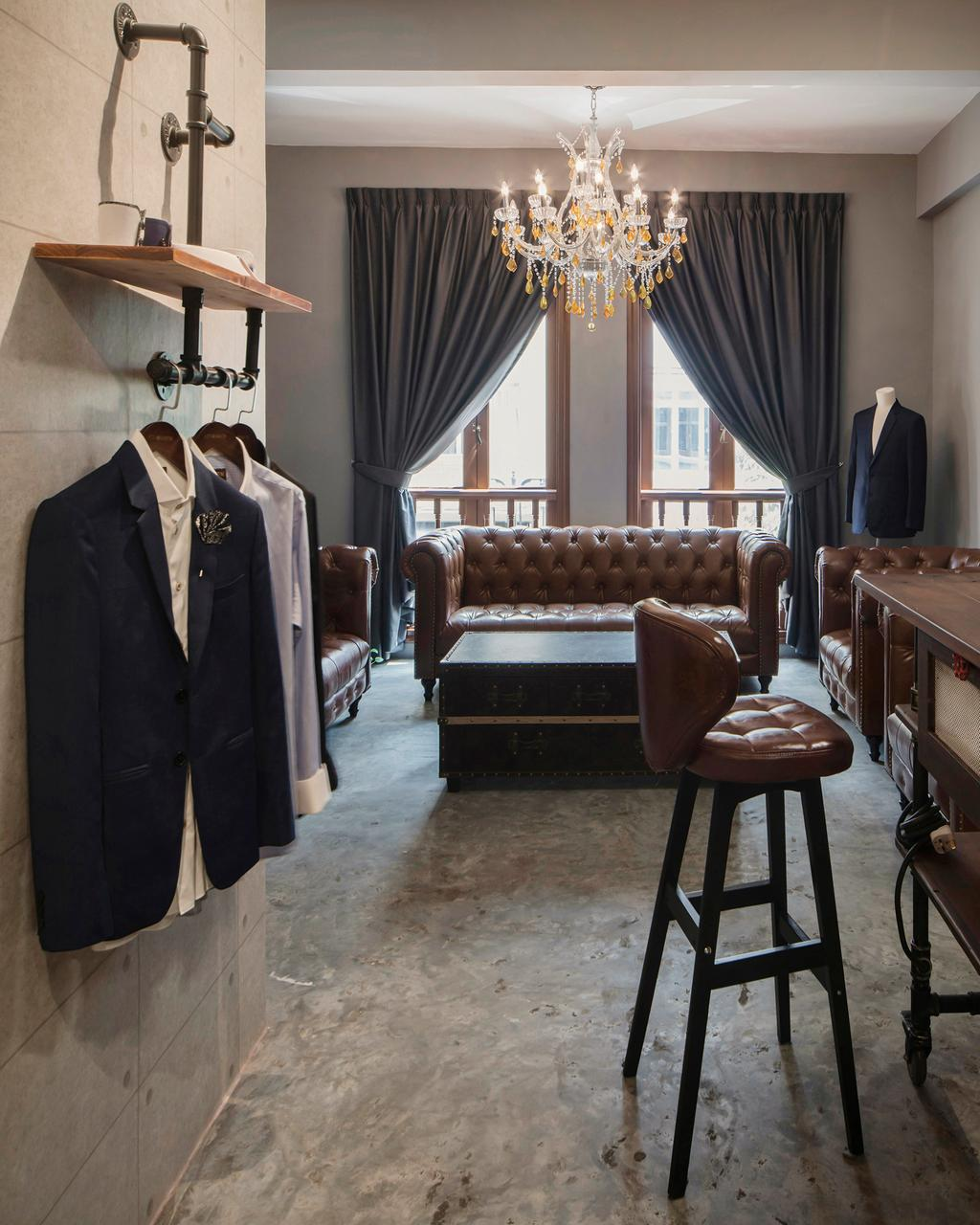 66 Circular Road, Commercial, Interior Designer, Cozy Ideas Interior Design, Industrial, Vintage, Chair, Furniture, Couch, Human, People, Person, Luggage, Suitcase, Indoors, Reception, Reception Room, Room, Waiting Room, Clothing, Coat, Overcoat, Suit
