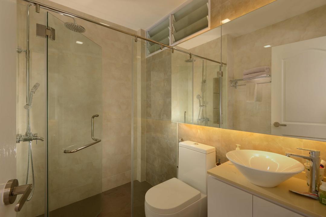 Spanish Village, The Orange Cube, Contemporary, Bathroom, Condo, Shower Screen, Cove Lights, Mirrior, Sink, Toilet Bowl, Cabinets, Shower, Indoors, Interior Design, Room, Toilet