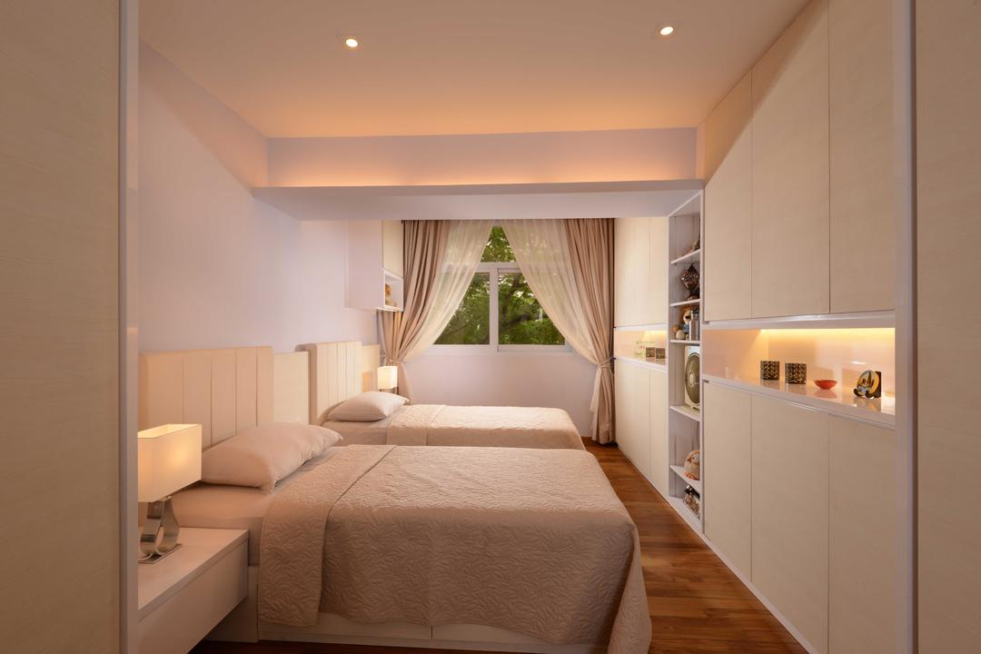 Spanish Village, The Orange Cube, Contemporary, Bedroom, Condo, Curtains, Cove Lights, Down Lights, Cabinets, Stoage, Cupboards, Beds, Side Tables, Toilet, Indoors, Interior Design, Room