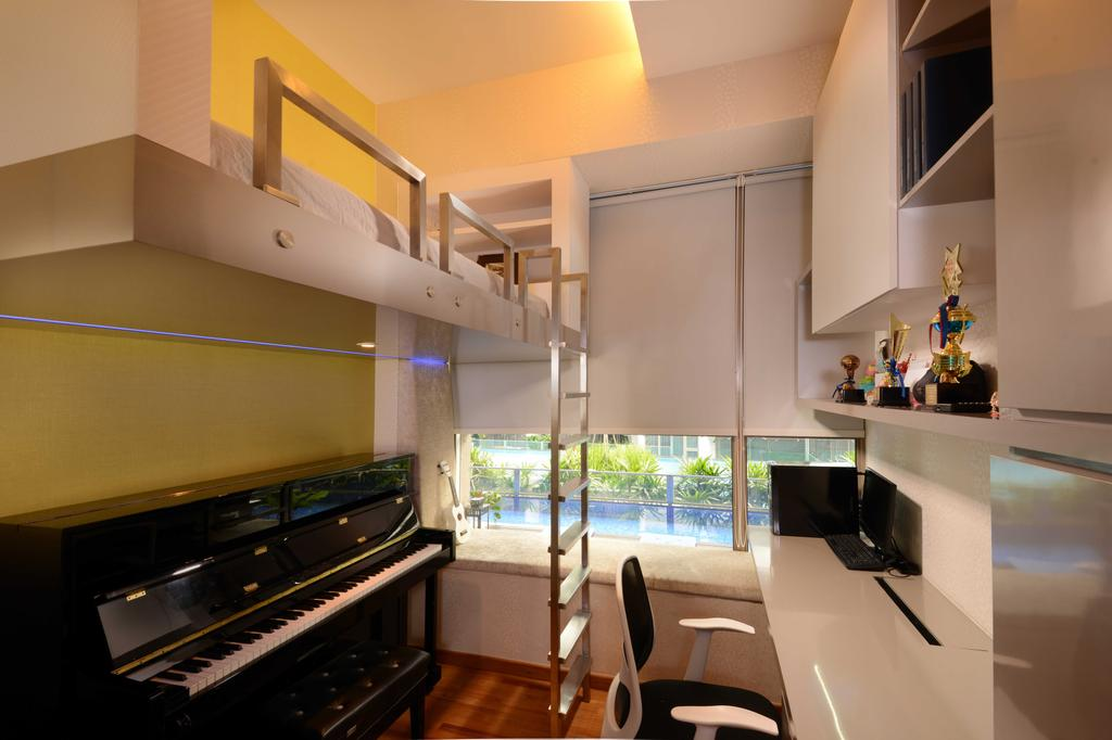 Modern, Condo, Bedroom, The Waterline, Interior Designer, The Orange Cube, Piano, Double Decker, Blinds, Stairs, Study Desk, Shleving, Cabinets, Trophy, Chair, Furniture, Indoors, Interior Design