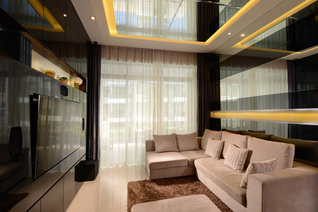 Modern, Condo, Living Room, The Waterline, Interior Designer, The Orange Cube, Sofa, Cove Light, Tv, Feature Wall, Carpet, Couch, Furniture, Indoors, Interior Design