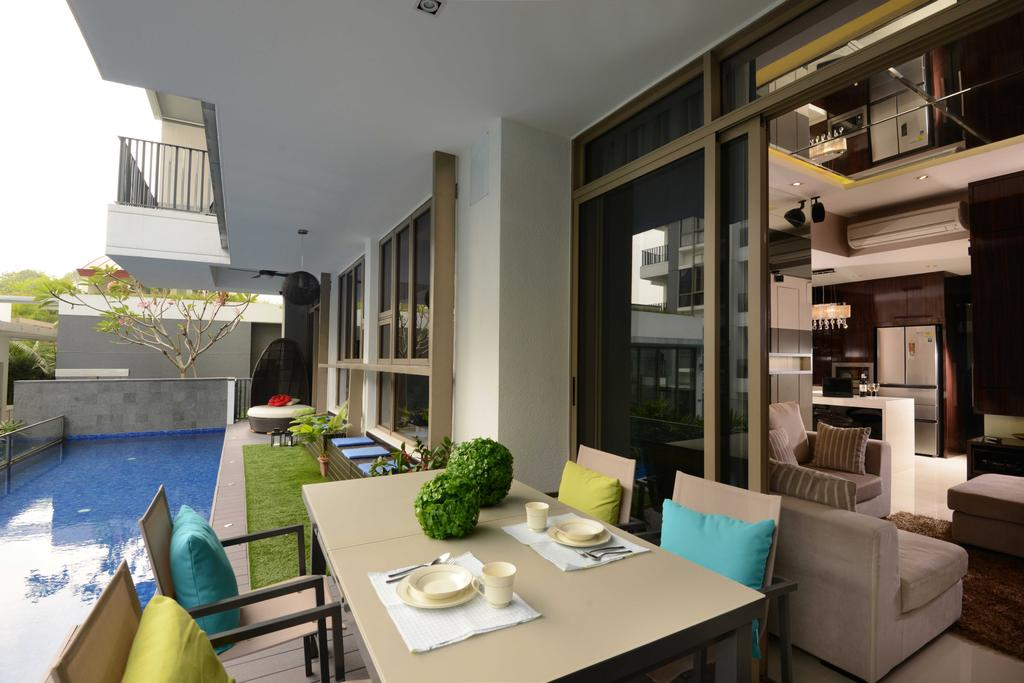 Modern, Condo, Balcony, The Waterline, Interior Designer, The Orange Cube, Dning Table, Dining Chairs, Garden Table, Garden Chairs, Sliding Door, Flora, Jar, Plant, Potted Plant, Pottery, Vase, Couch, Furniture, Dining Room, Indoors, Interior Design, Room, HDB, Building, Housing