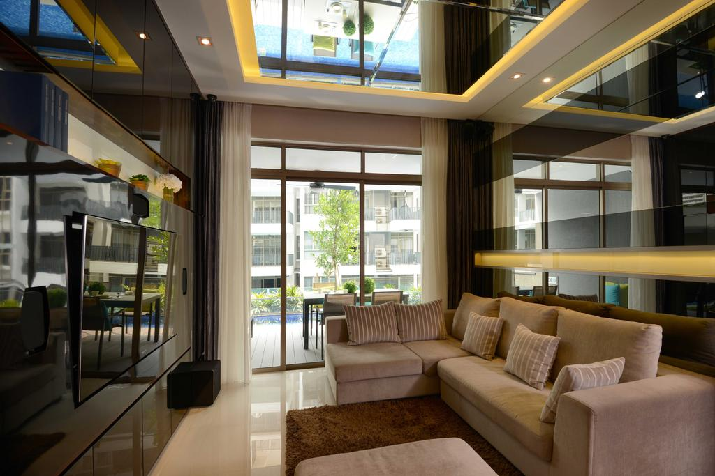 Modern, Condo, Living Room, The Waterline, Interior Designer, The Orange Cube, Cove Light, Sofa, Feature Wall, Tv, Carpet, Curtain, Couch, Furniture