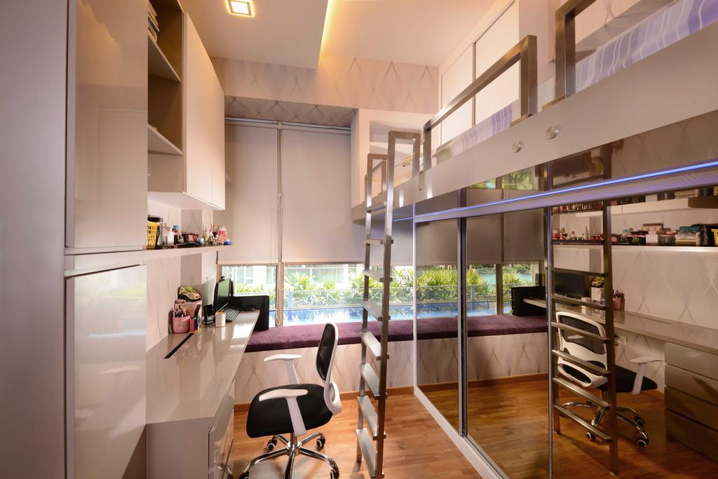 Modern, Condo, Bedroom, The Waterline, Interior Designer, The Orange Cube, Double Decker, Stairs, Study Desk, Roller Chair, Blinds, Shelving, Chair, Furniture