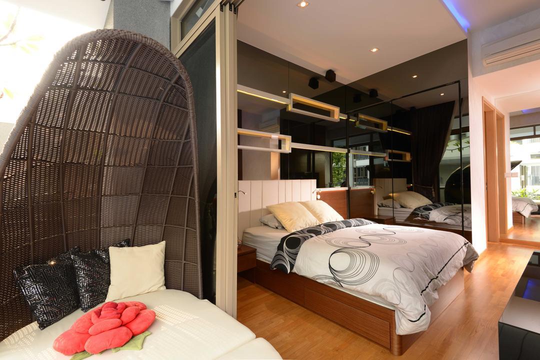 The Waterline, The Orange Cube, Modern, Bedroom, Condo, Swing, Bed, Bedrame, Down Light, Furniture, HDB, Building, Housing, Indoors, Door, Sliding Door