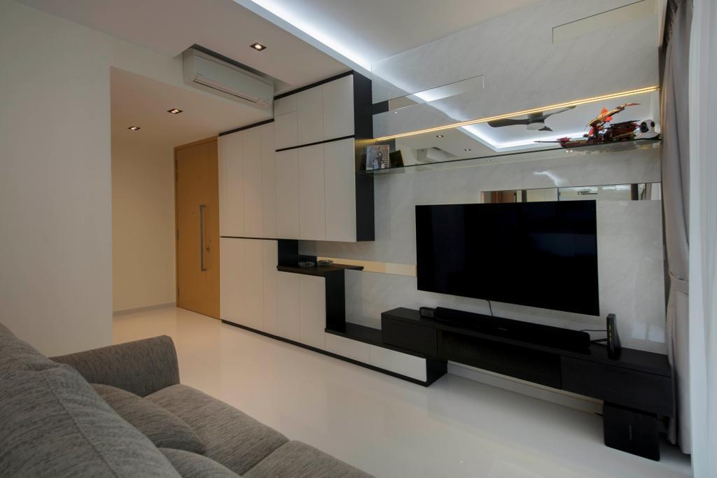 Condo, Living Room, Bartley Ridge, Interior Designer, D Initial Concept, HDB, Building, Housing, Indoors, Loft, Electronics, Entertainment Center, Home Theater, Aircraft, Airplane, Transportation