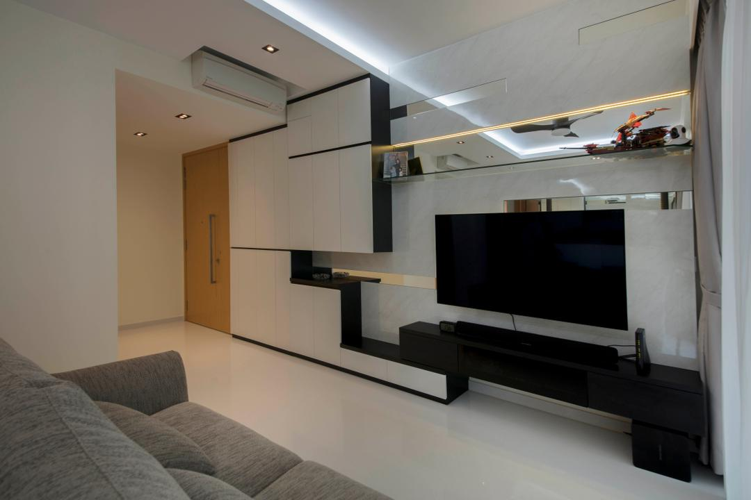 Bartley Ridge, D Initial Concept, Living Room, Condo, HDB, Building, Housing, Indoors, Loft, Electronics, Entertainment Center, Home Theater, Aircraft, Airplane, Transportation