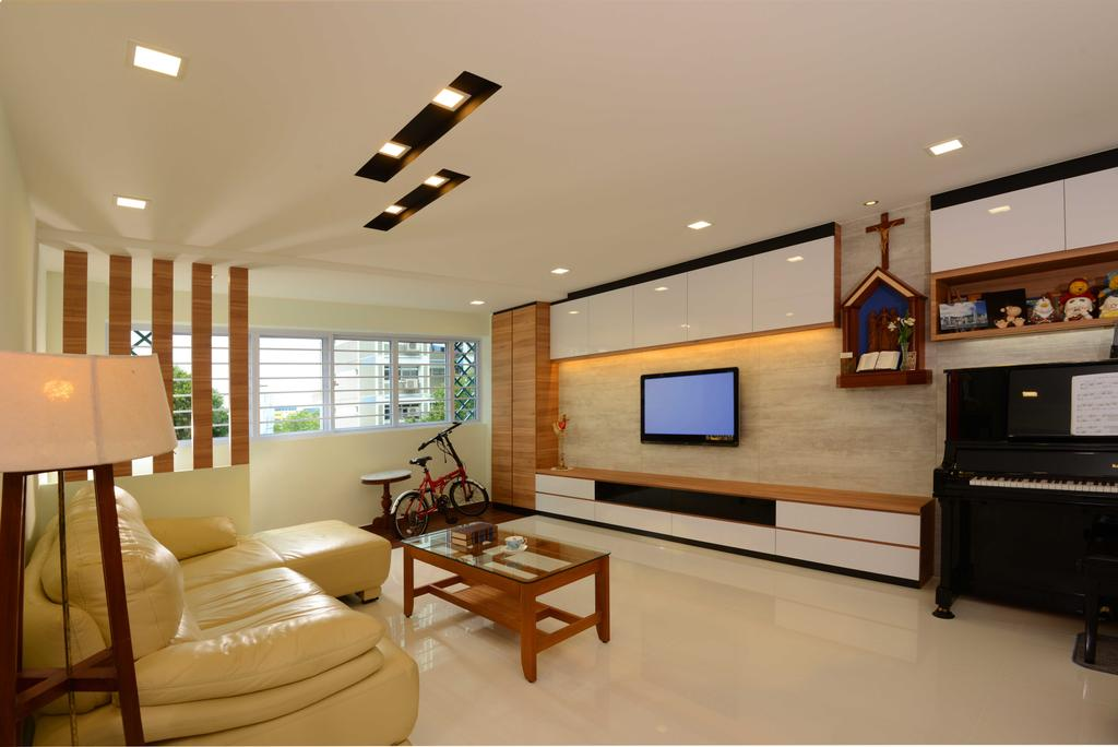 Contemporary, HDB, Living Room, Bedok, Interior Designer, The Orange Cube, Marble, Sofa, Tracling Lights, Cove Light, Tv, Tv Console, Piano, Standing Lamp, Coffee Table, Cabinets, Leisure Activities, Music, Musical Instrument, Upright Piano, Electronics, Monitor, Screen, Television