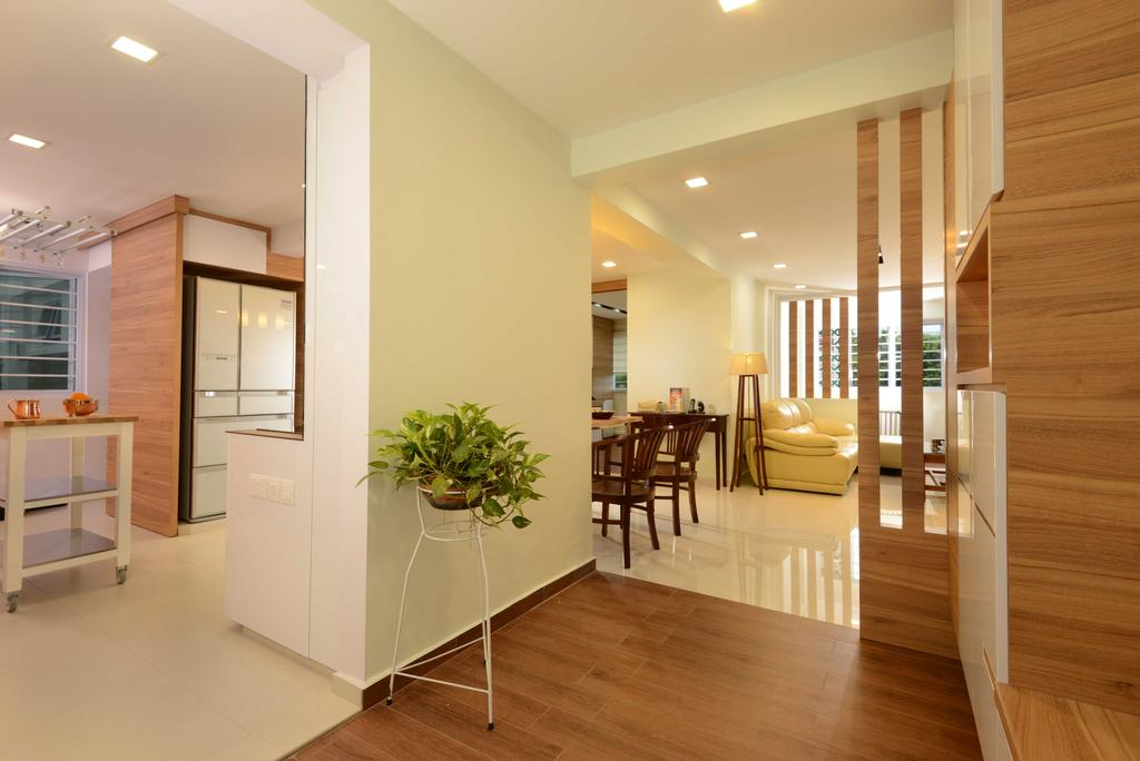 Contemporary, HDB, Bedok, Interior Designer, The Orange Cube, Wood, Down Light, Dining Chairs, Trolley, Flooring, Flora, Jar, Plant, Planter, Potted Plant, Pottery, Vase