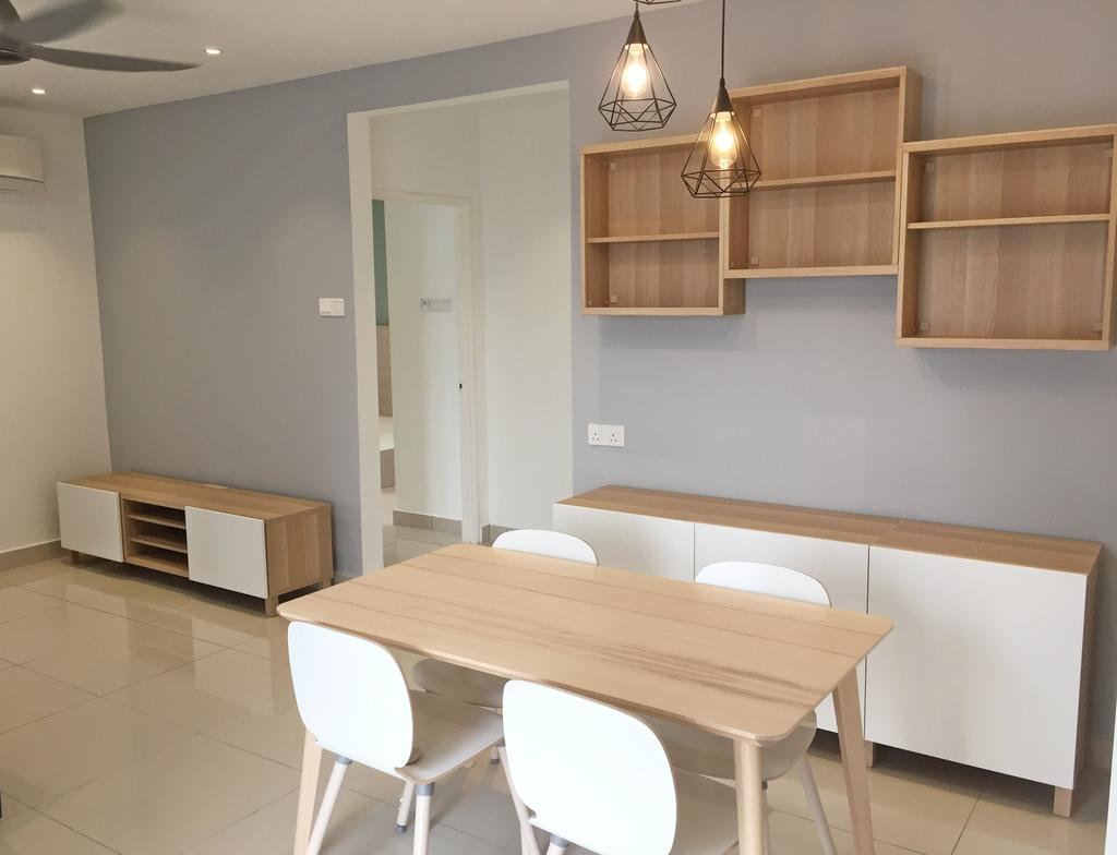 Contemporary, Condo, Maisson, Ara Damansara, Interior Designer, DesignLah, Dining Table, Furniture, Table, Shelf, Chair, Dining Room, Indoors, Interior Design, Room