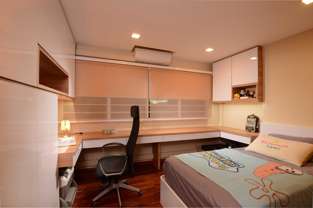 Bedok, The Orange Cube, Contemporary, Bedroom, HDB, Blinds, Down Light, Roller Chair, Study Table, Bed, Cabinets, Storage, Chair, Furniture, Appliance, Electrical Device, Oven, Indoors, Room