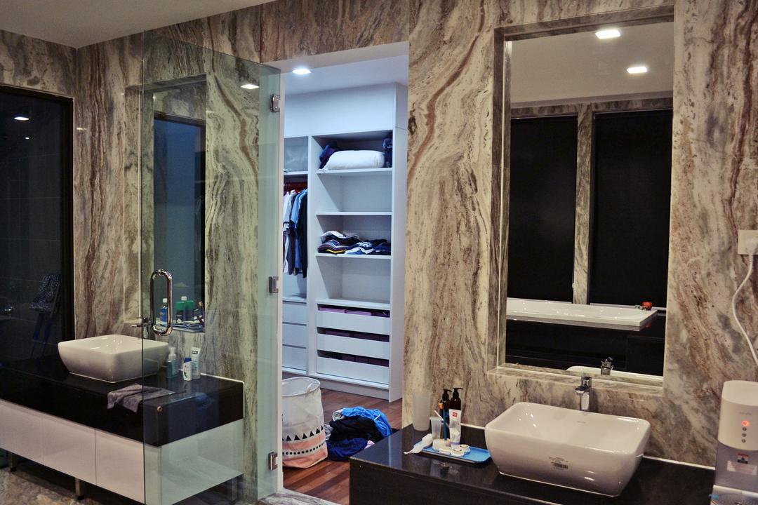 Setia Duta Villa, Shah Alam, DesignLah, Scandinavian, Contemporary, Landed, Bathroom, Indoors, Interior Design, Room, Sink, Closet, Furniture, Wardrobe