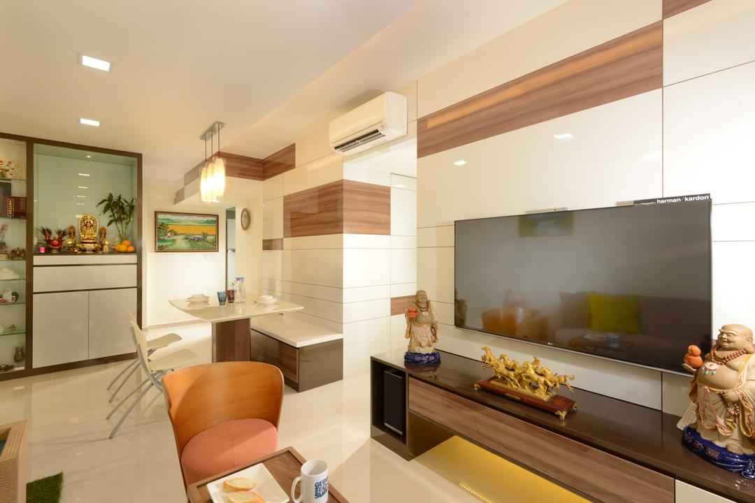Boon Tiong, The Orange Cube, Contemporary, Living Room, HDB, Tv, Tv Console, Clean, Elements, Altar, Hairs, Dining Table, Build In Bench, Bench, Dining Light, Dining Chairs, Marble, Down Light, Human, People, Person, Indoors, Interior Design, Couch, Furniture, Chair