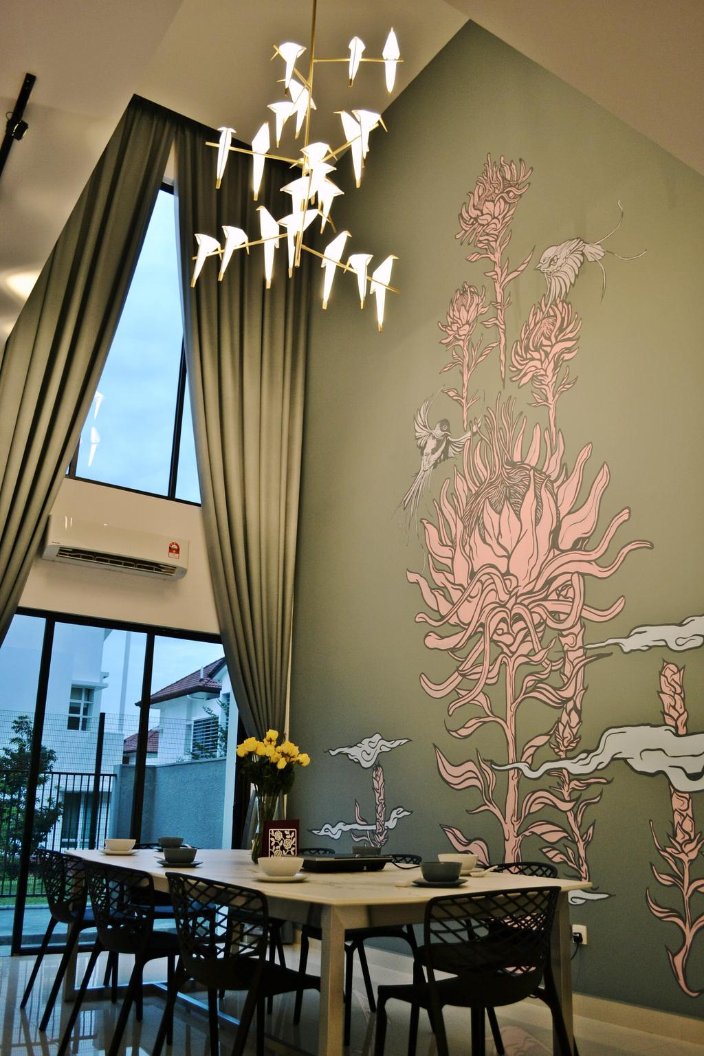 Scandinavian, Landed, Setia Duta Villa, Shah Alam, Interior Designer, DesignLah, Contemporary, Curtain, Home Decor