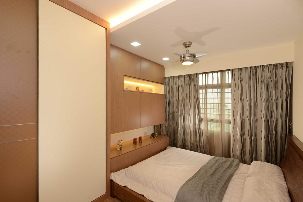 Contemporary, HDB, Bedroom, Boon Tiong, Interior Designer, The Orange Cube, Curtain, Ceiling Fan, Bed Frame, Bed, Wardrobe, Cupboard, Laminate, Wood, Woody, Storage, Shelve, Indoors, Interior Design, Room