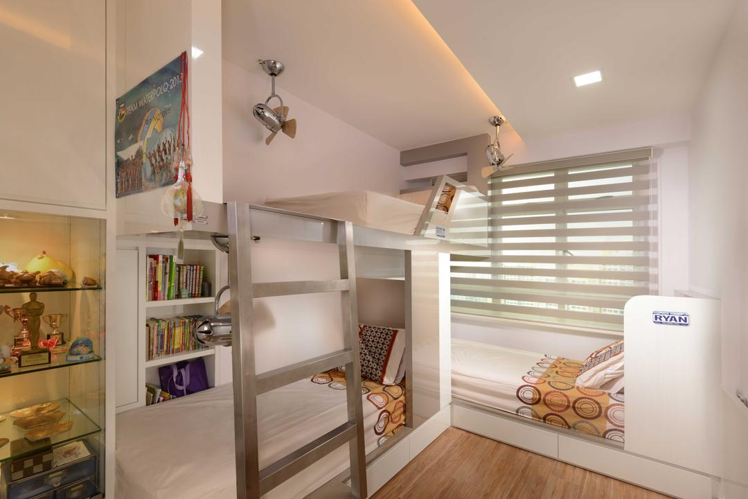 Boon Tiong, The Orange Cube, Contemporary, Bedroom, HDB, Double Decker, Blinds, Cove Light, Down Light, Children Room, Shairs, Shelving, Appliance, Electrical Device, Oven, Indoors, Interior Design