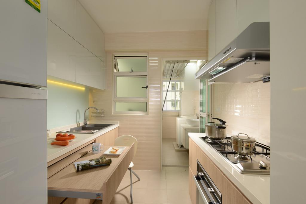 Contemporary, HDB, Kitchen, Boon Tiong, Interior Designer, The Orange Cube, Fridge, Oven, Stove, Hood, Cove Light, Sink, Tap, Cabinets, Indoors, Interior Design, Room