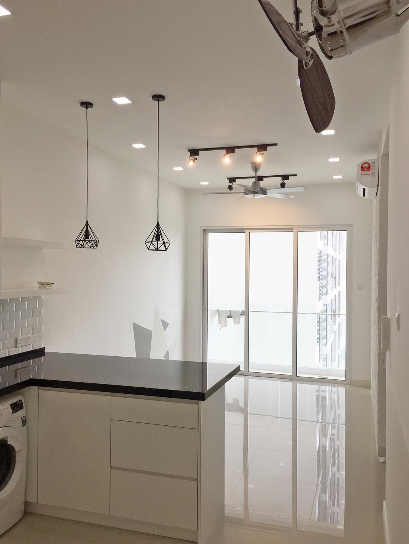 Minimalistic, Condo, Desa Green, KL, Interior Designer, DesignLah, Light Fixture