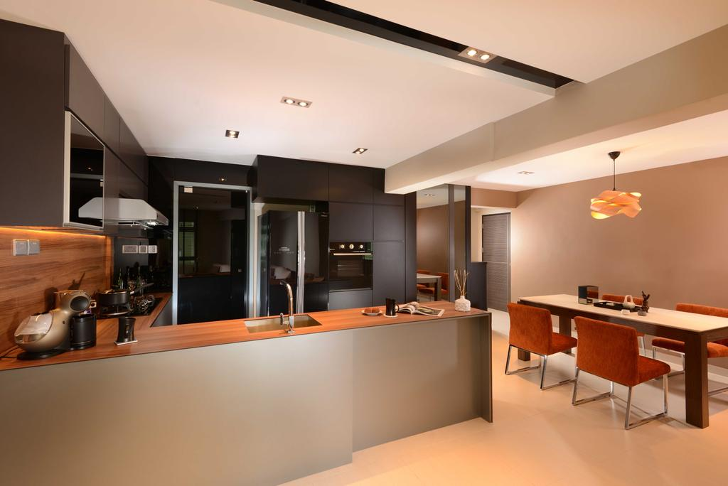 Contemporary, HDB, Kitchen, Jurong West, Interior Designer, The Orange Cube, Dining Table, Dining Light, Dining Chairs, Dry Kitchen, Island Top, Fridge, Sink, Stove, Hood, Furniture, Table, Appliance, Electrical Device, Oven