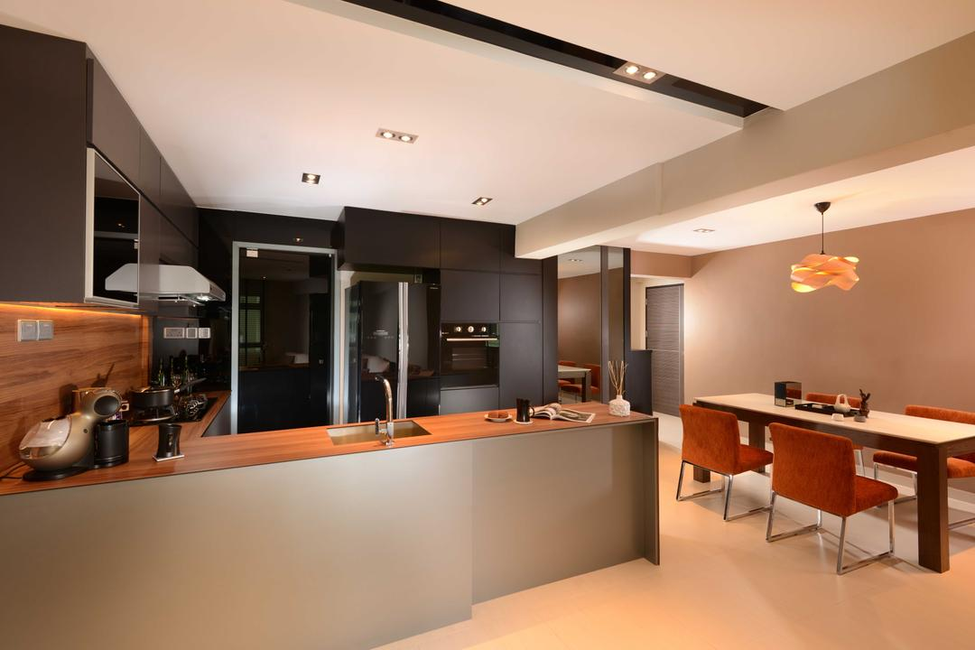 Jurong West, The Orange Cube, Contemporary, Kitchen, HDB, Dining Table, Dining Light, Dining Chairs, Dry Kitchen, Island Top, Fridge, Sink, Stove, Hood, Furniture, Table, Appliance, Electrical Device, Oven