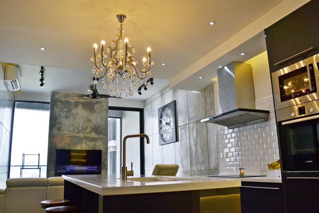 Contemporary, Condo, Twin Arks, Bukit Jalil, Interior Designer, DesignLah, Chandelier, Lamp, Appliance, Electrical Device, Oven, Dining Room, Indoors, Interior Design, Room, Fireplace, Hearth