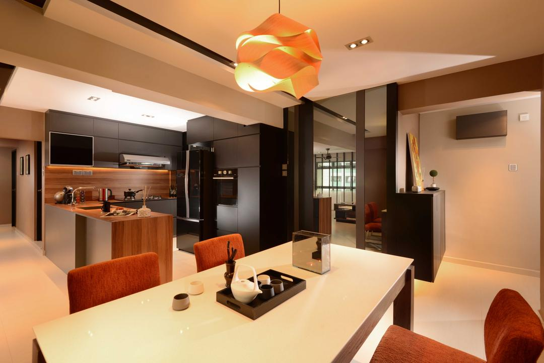 Jurong West, The Orange Cube, Contemporary, Dining Room, HDB, Dining Table, Dry Kitchen, Island Table, Dining Lamp, Fridge, Indoors, Interior Design, Room