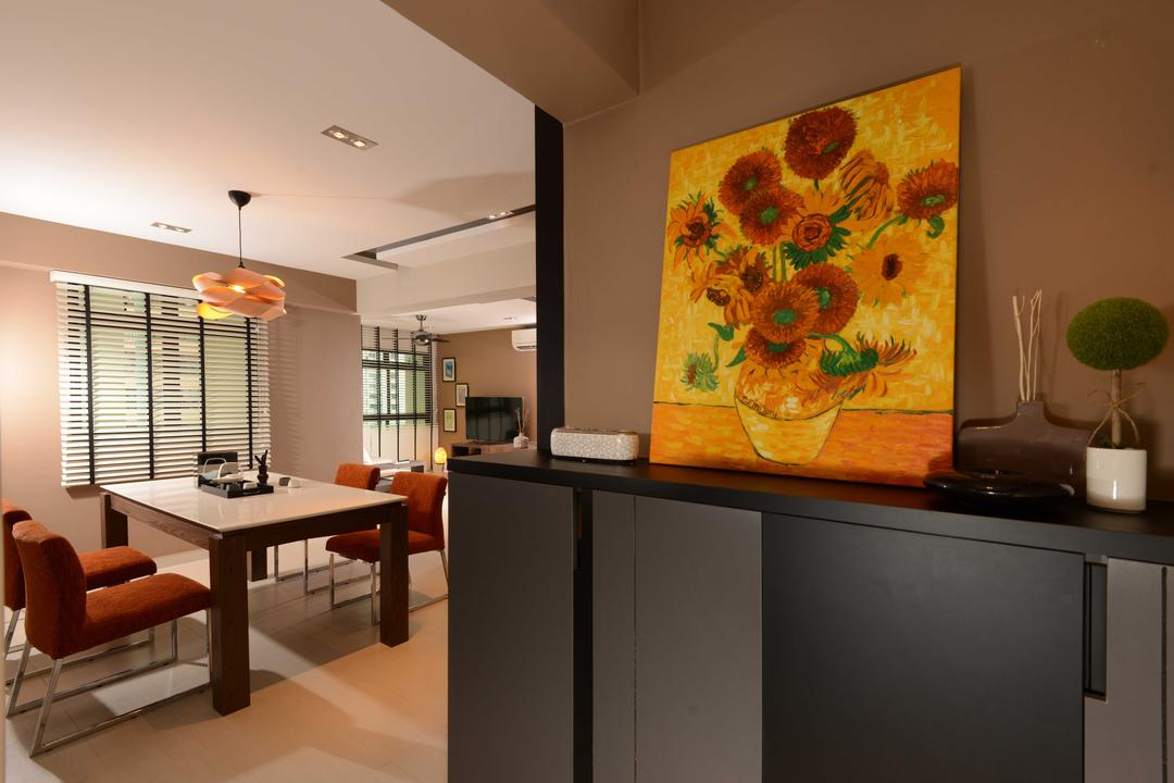 Jurong West, The Orange Cube, Contemporary, Dining Room, HDB, Soes Case, Entrance, Dining Table, Dining Chairs, Blinds, Dining Lamp, Track Lights, Couch, Furniture, Table, Indoors, Interior Design, Room, Appliance, Electrical Device, Fridge, Refrigerator, Art, Chair