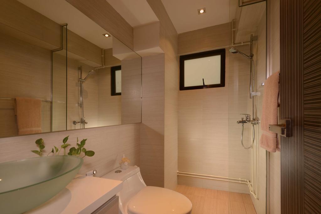 Contemporary, HDB, Bathroom, Jurong West, Interior Designer, The Orange Cube, Mirror, Shower, Sink, Frosted Sink, Toilet Bowl, Indoors, Interior Design, Room, Building, Housing, Loft