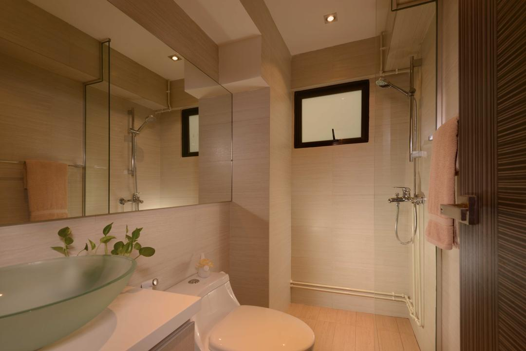 Jurong West, The Orange Cube, Contemporary, Bathroom, HDB, Mirror, Shower, Sink, Frosted Sink, Toilet Bowl, Indoors, Interior Design, Room, Building, Housing, Loft