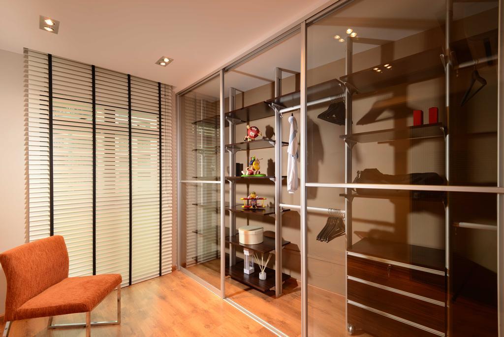 Contemporary, HDB, Bedroom, Jurong West, Interior Designer, The Orange Cube, Walk In Wardrobe, Wardrobe, Blinds, Bookcase, Furniture