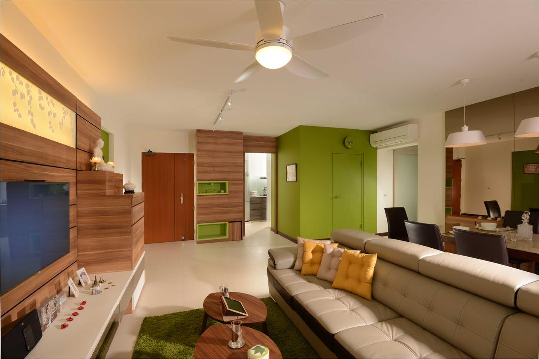 Upper Serangoon Crescent, The Orange Cube, Contemporary, Living Room, HDB, Ceiling Fan, Sofa, Coffee Table, Tv, Altar, Dining Table, Dining Chairs, Dining Lamp, Couch, Furniture