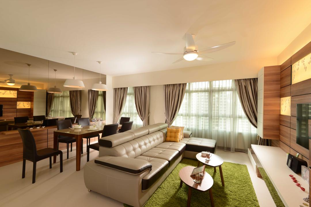 Upper Serangoon Crescent, The Orange Cube, Contemporary, Living Room, HDB, Dining Table, Dining Chairs, Curtian, Mirror, Carpet, Ceiling Fan, Cushion, Dining Lights, Dining Lamps, Furniture, Table, Couch, Indoors, Room, Interior Design, Dining Room