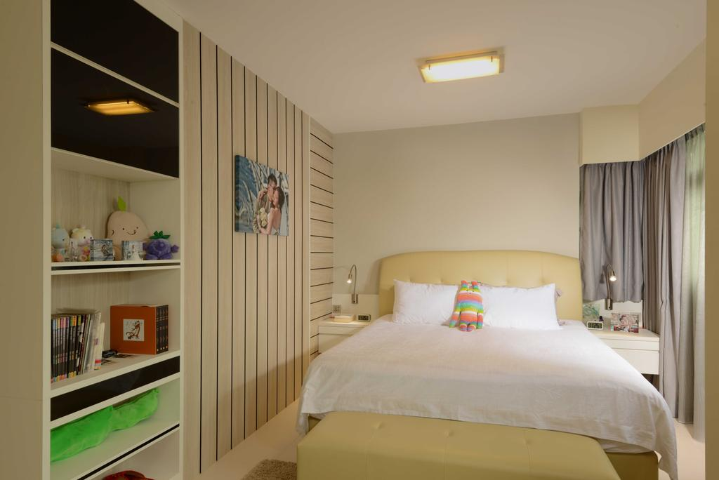Contemporary, HDB, Bedroom, Upper Serangoon Crescent, Interior Designer, The Orange Cube, Bed Bed Frame, Book Shlef, Curtain, Shelf, Indoors, Interior Design, Room