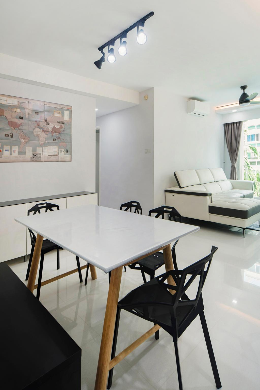 Minimalistic, Condo, Dining Room, The Esparis, Interior Designer, Cozy Ideas Interior Design, Dining Table, Furniture, Table, Banister, Handrail, Curtain, Home Decor