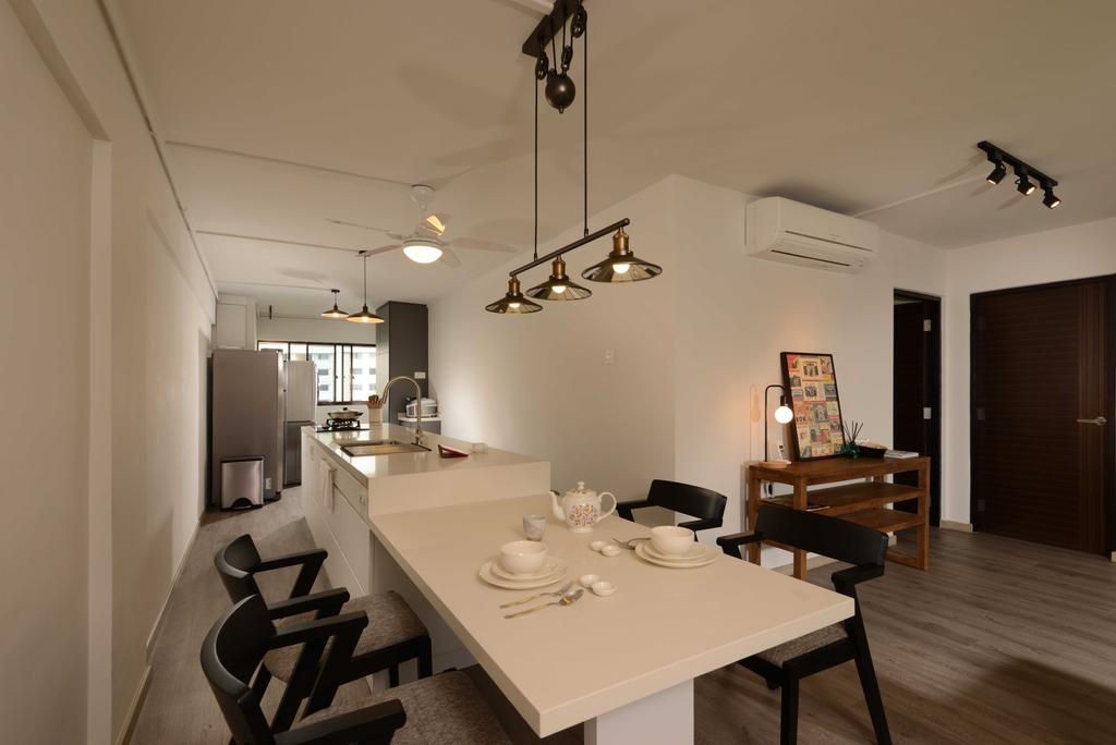Industrial, HDB, Dining Room, Yishun, Interior Designer, The Orange Cube, Dining Table, Dining Chairs, Ceiling Fan, Kitchen Island, Dry Kitchen, Aircon, Fridge, Furniture, Table, Light Fixture, Indoors, Interior Design, Room, Sink, Couch, Kitchen, Building, Housing, Closet, Wardrobe