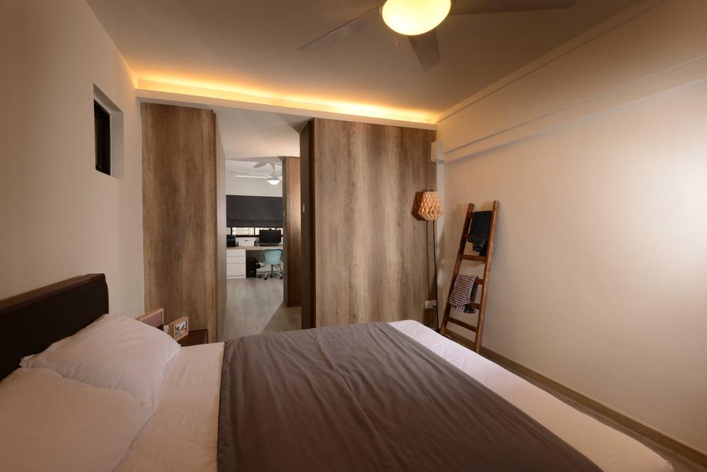 Industrial, HDB, Bedroom, Yishun, Interior Designer, The Orange Cube, Cove Light, Laminate, Ceiling, Bed, Bed Frame, Hack, Indoors, Interior Design, Room