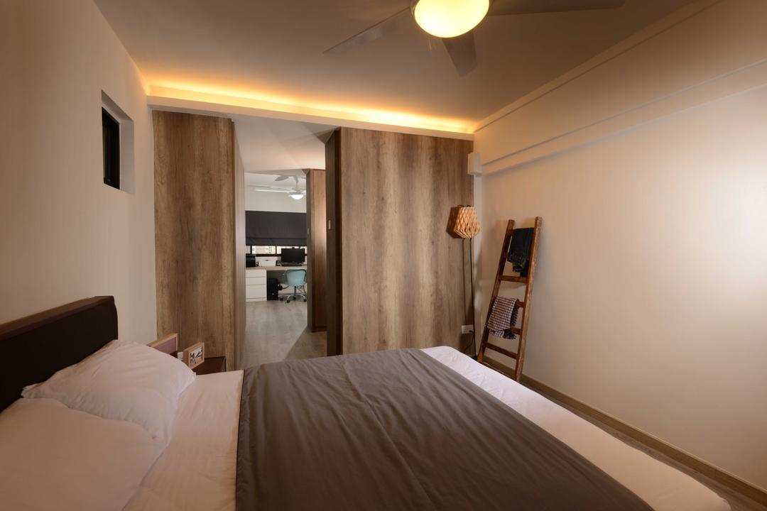 Yishun, The Orange Cube, Industrial, Bedroom, HDB, Cove Light, Laminate, Ceiling, Bed, Bed Frame, Hack, Indoors, Interior Design, Room