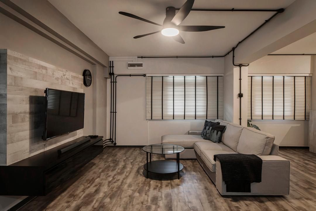 Jalan Tenaga, Cozy Ideas Interior Design, Minimalistic, Living Room, HDB, Lighting, Flooring, Couch, Furniture, Indoors, Room, Waiting Room, Interior Design