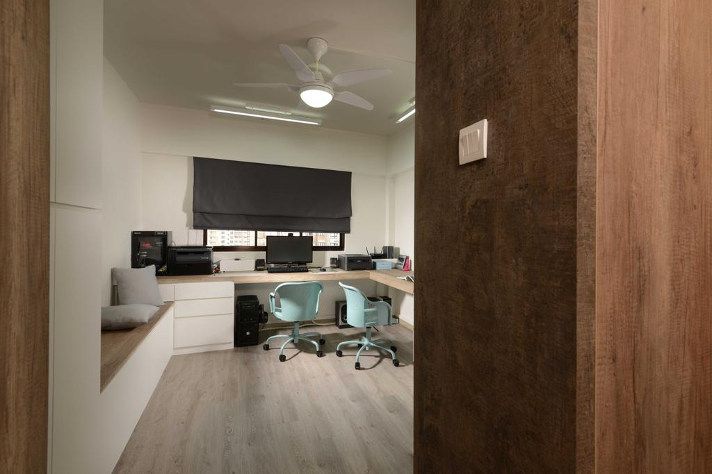 Industrial, HDB, Study, Yishun, Interior Designer, The Orange Cube, Blinds, Study Table, Roller Chairs, Cushions, Ceiling Fan, Electronics, Entertainment Center, Home Theater