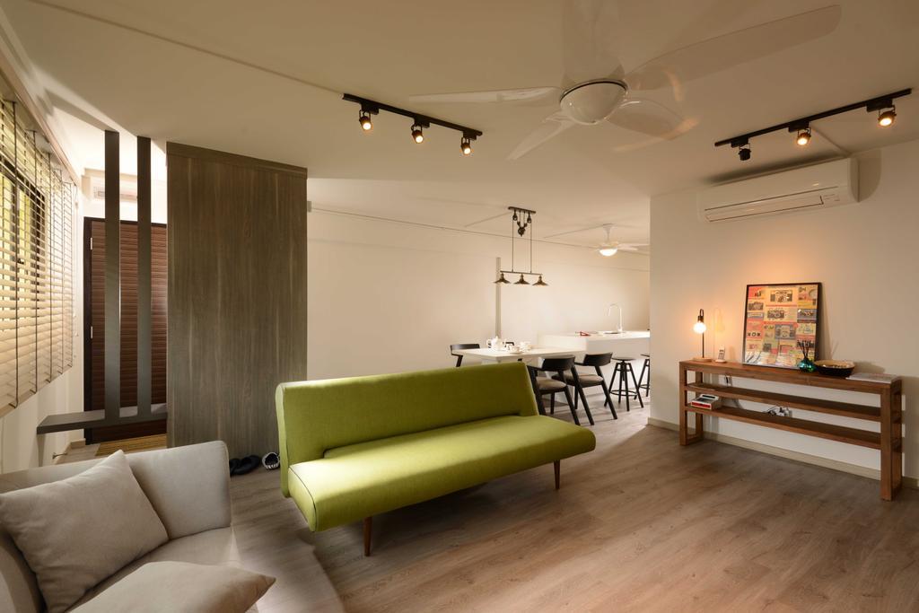 Industrial, HDB, Living Room, Yishun, Interior Designer, The Orange Cube, Track Lights, Sofa, Indoors, Interior Design