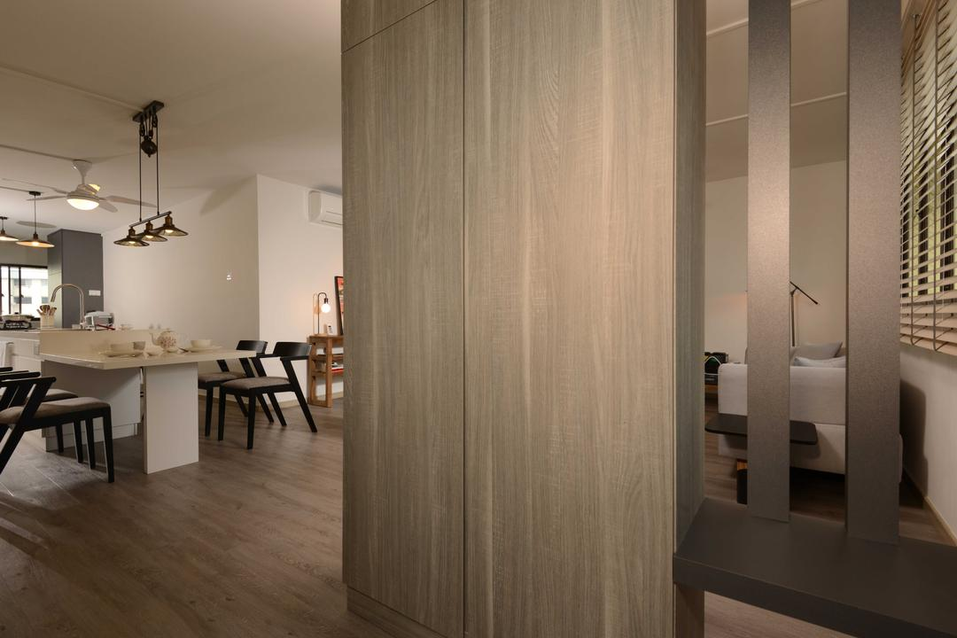 Yishun, The Orange Cube, Industrial, Living Room, HDB, Shoe Case, Laminate, Flooring, Dining Table, Furniture, Table