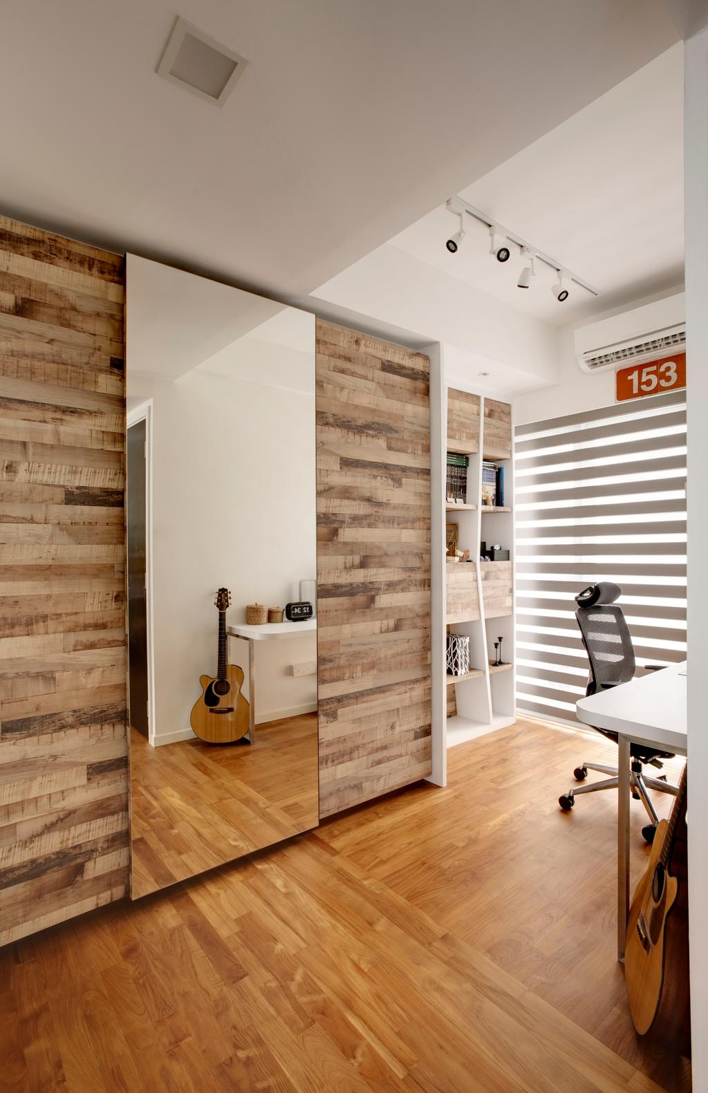 Contemporary, Landed, Study, Bukit Batok, Interior Designer, The Orange Cube, Mirror, Laminate, Parquet, Bookshelf, Study Table, Study Desk, Study Chair, Roller Chair, Guitar, Sliding, Chair, Furniture, Indoors, Interior Design