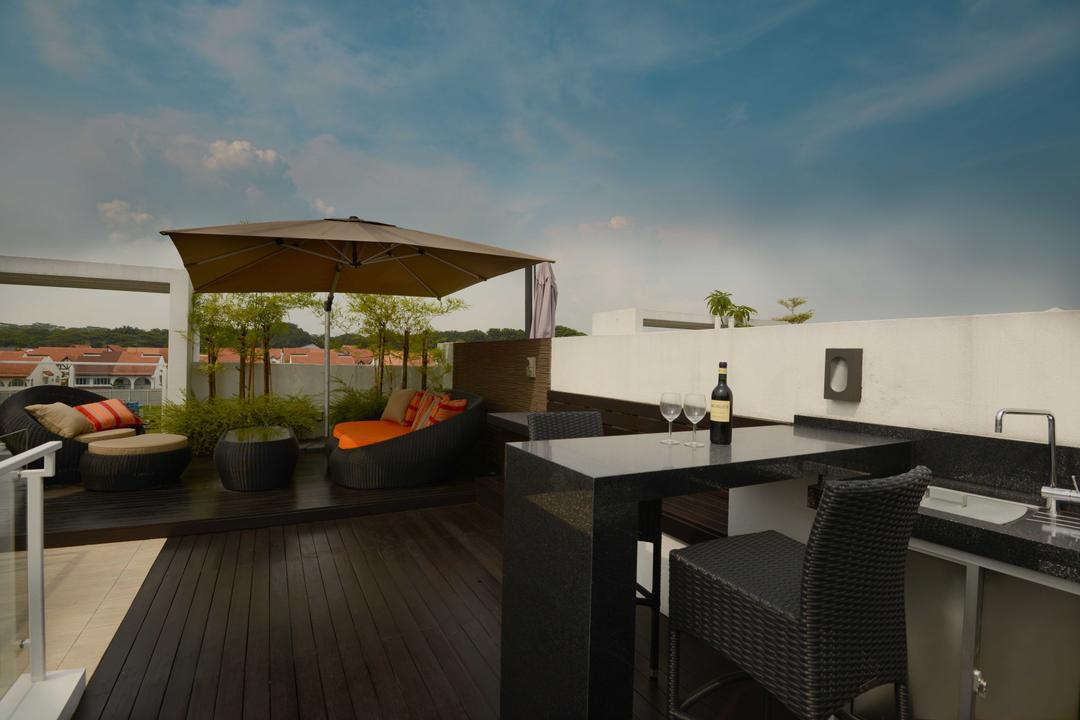 Cabana, The Orange Cube, Modern, Garden, Landed, Alfresco, Tenage, Garden Chairs, Wood, Sink, Rooftop, Flora, Jar, Plant, Potted Plant, Pottery, Vase, Dining Table, Furniture, Table, Chair, Shelf