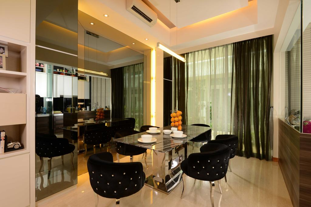 Modern, Landed, Dining Room, Cabana, Interior Designer, The Orange Cube, Cove Light, Curtain, Chairs, Dining Chairs, Dining Table, Mirror, Glass Panel, Partition, Aircon, Marble Flooring, Marble, Indoors, Interior Design, Room, Furniture, Table, Chair