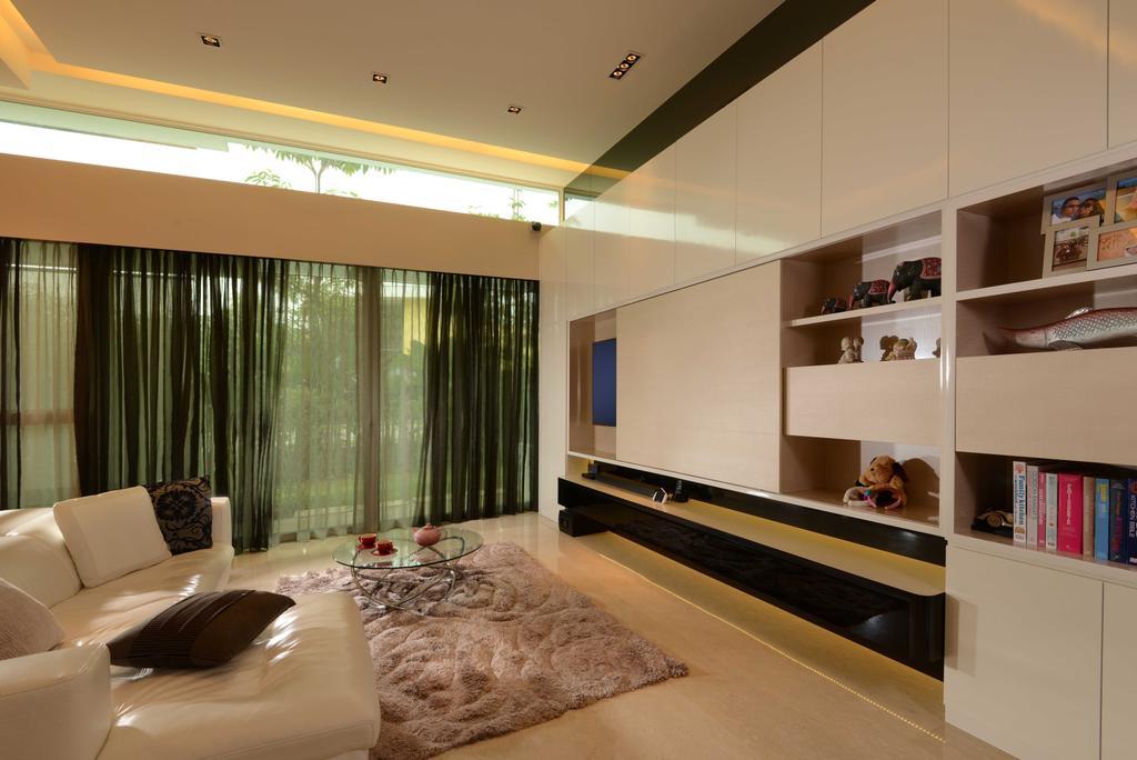 Modern, Landed, Living Room, Cabana, Interior Designer, The Orange Cube, Sofa, Carpet, Tv Console, Tv, Curtain, Cove Light, Down Light, Shelving, Cabinets, Marble, Indoors, Interior Design