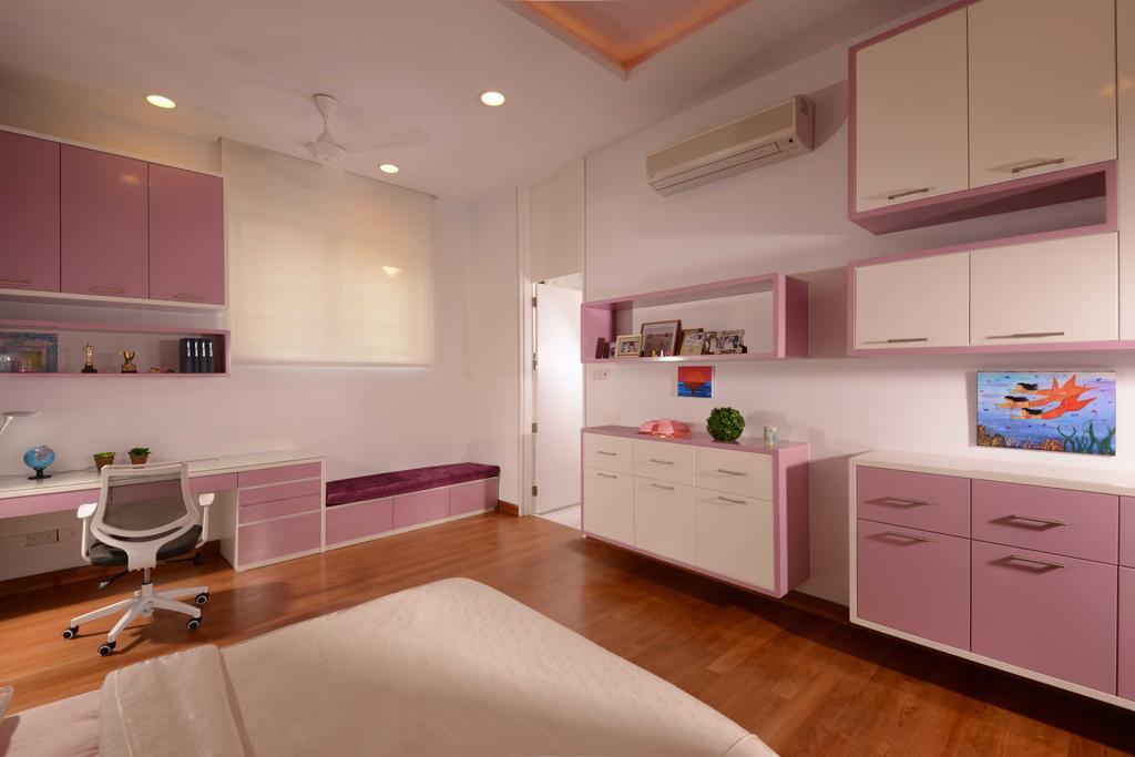 Modern, Landed, Bedroom, Wilkinson Road, Interior Designer, The Orange Cube, Pink Room, Work Desk, Study Desk, Desk, Blind, Cupboards, Shelving, Carpet, Aircon, Girls Room, Indoors, Interior Design, Kitchen, Room
