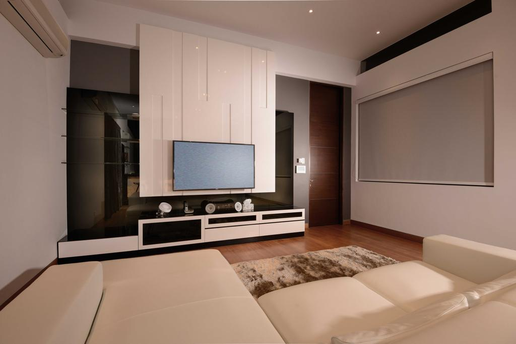 Modern, Landed, Bedroom, Wilkinson Road, Interior Designer, The Orange Cube, Tv, Television, Blinds, Feature Wall, Tv Console, Sofa, Curtain, Flooring, Downlight, Indoors, Interior Design, Room