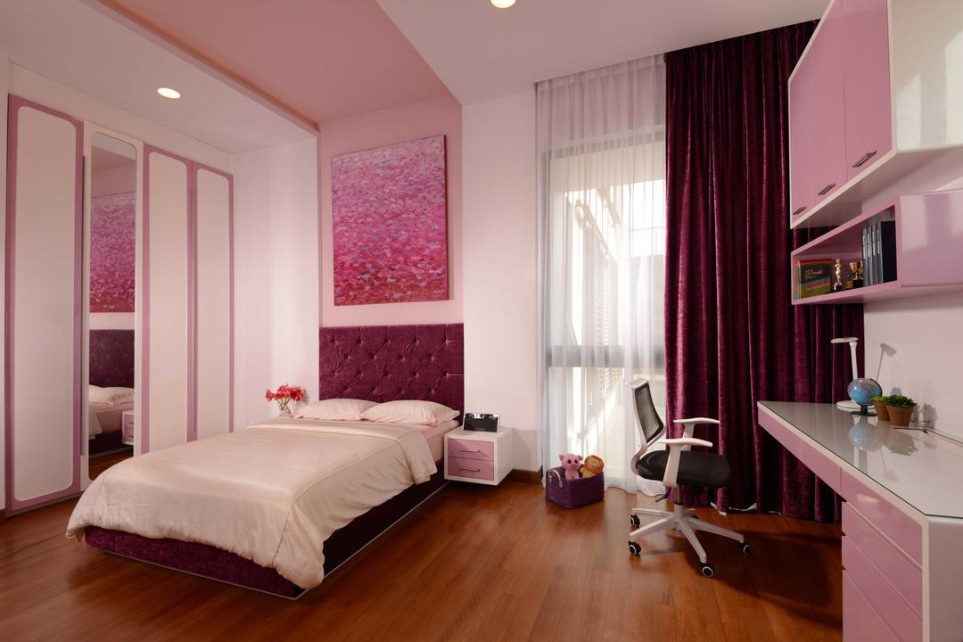 Wilkinson Road, The Orange Cube, Modern, Bedroom, Landed, Pink Room, Bed, Bed Frame, Cupboard, Mirror, Curtain, Desk, Work Desk, Chair, Shelving, Girls Room, Parquet, Indoors, Interior Design, Room, Sink