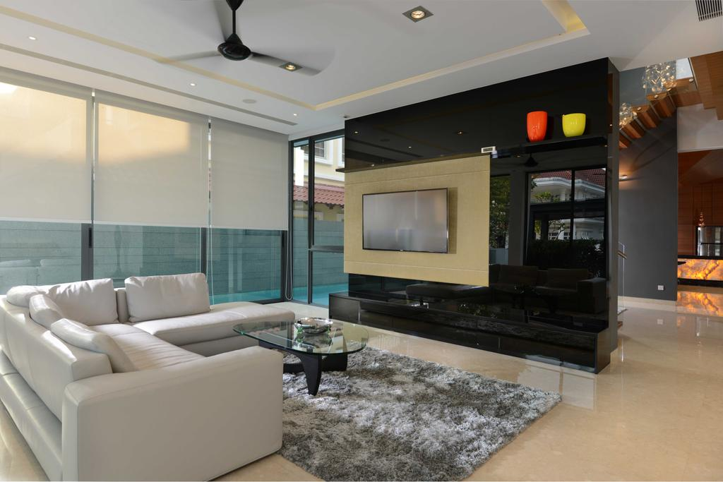 Modern, Landed, Living Room, Wilkinson Road, Interior Designer, The Orange Cube, Ceiling Fan, Sofa, Featire Wall, Tv Console, Floor Tiles, Marble, Carpet, Coffee Tale, Cove Light, Down Light, Blinds, Coffee Table, Furniture, Table, Couch, Indoors, Interior Design, Room