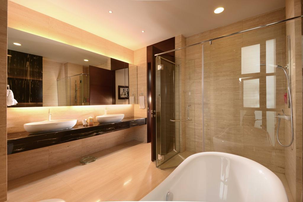 Modern, Landed, Bathroom, Wilkinson Road, Interior Designer, The Orange Cube, Toilet, Double Sinks, Mirror, Coe Light, Shower Screen, Marble, Bath Tub, Downlight, Indoors, Interior Design, Room, Jacuzzi, Tub